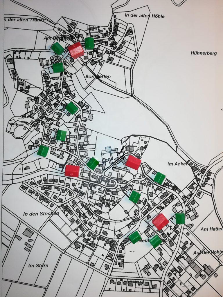 Mellnau - Straßenkarte mit symbolischen Häusern